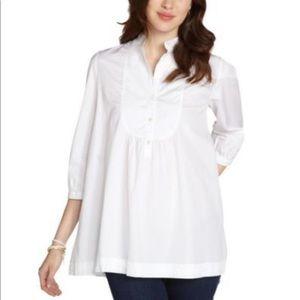 Burberry Brit white bib front popover blouse